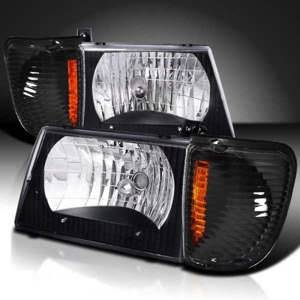 Thor Motor Coach Hurricane Diamond Clear Black Headlights & Corner Turn Signal Lamps Set (4 Piece Set)