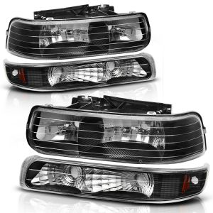 National RV Dolphin Clear Black Headlights & Turn Signal Light 4 Piece Set (Left & Right)