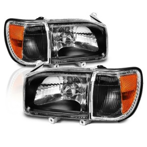 Monaco Monarch Black Headlights & Corner Turn Signal Lamps 4 Piece Set(Left & Right)