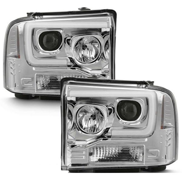 Monaco Dynasty Chrome Projector LED Headlight Assembly Pair (Left & Right)