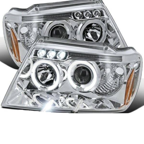 Tiffin Phaeton Chrome Projector LED Headlight Assembly Pair (Left & Right)