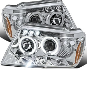 Fleetwood Discovery Chrome Projector LED Headlight Assembly Pair (Left & Right)