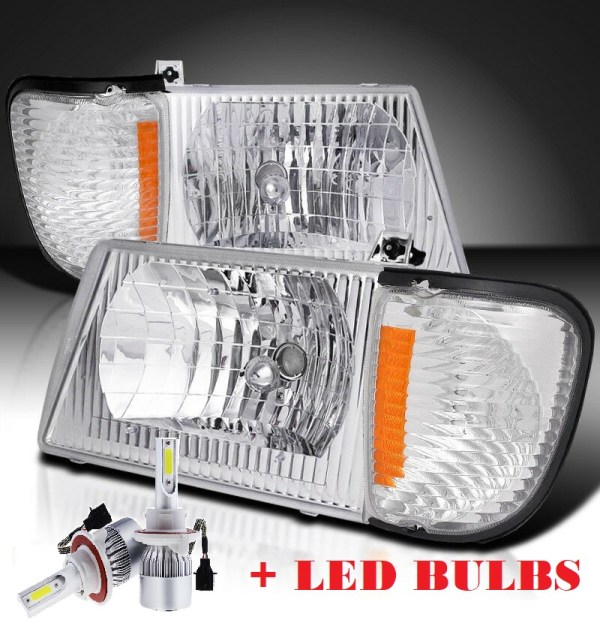 Forest River Reflection Diamond Clear Chrome Headlights & Corner Turn Signal Lamps Set 4PC + Low Beam LED Bulbs