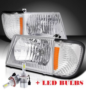 Fleetwood Tioga Diamond Clear Chrome Headlights & Corner Turn Signal Lamps Set 4PC + Low Beam LED Bulbs