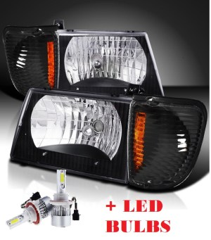 Forest River Reflection Black Headlights & Corner Turn Signal Lamps Set 4PC + Low Beam LED Bulbs