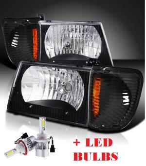 Damon Challenger Black Headlights & Corner Turn Signal Lamps Set 4PC + Low Beam LED Bulbs