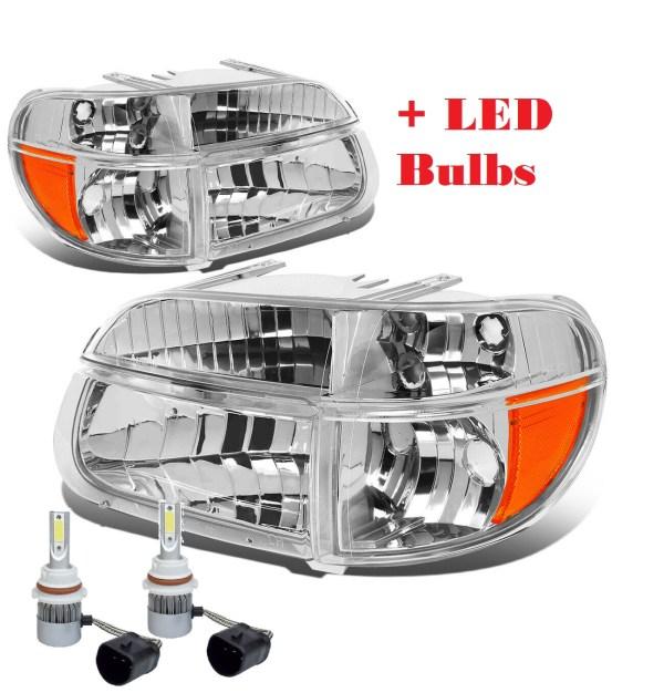 Airstream Land Yacht Diamond Clear Chrome Headlights & Signal Lamps + Headlight LED Bulbs (Left & Right)