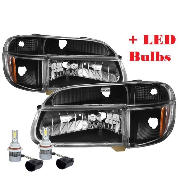 Airstream Skydeck Diamond Clear Black Headlights & Signal Lamps + Headlight LED Bulbs (Left & Right)