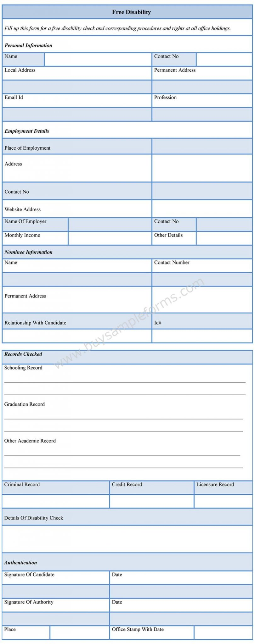Download Easy To Edit Free Disability Form