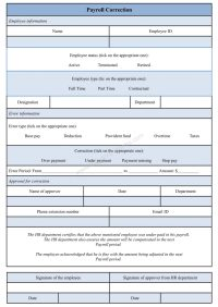 Payroll Correction Form Template, Sample Payroll ...