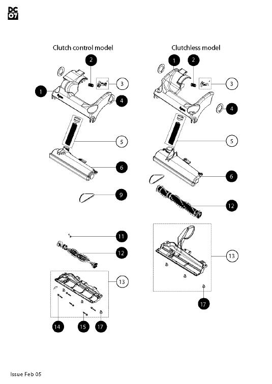 Dyson DC07 Origin Dark Steel/Yellow Vacuum Cleaner Parts
