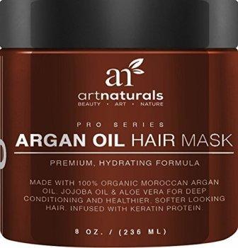 Art Naturals Argan Oil Hair Mask, Deep Conditioner 8 Oz, 100% Organic Jojoba Oil, Aloe Vera & Keratin, Repair Dry, Damaged Or Color Treated Hair After Shampoo, Best For All Hair Types