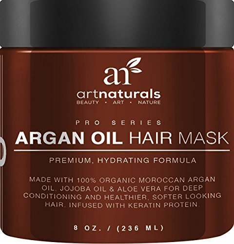 Art Naturals Argan Oil Hair Mask, Deep Conditioner 8 Oz, 100% Organic Jojoba Oil, Aloe Vera & Keratin, Repair Dry, Damaged Or Color Treated Hair After Shampoo, Best For All Hair Types