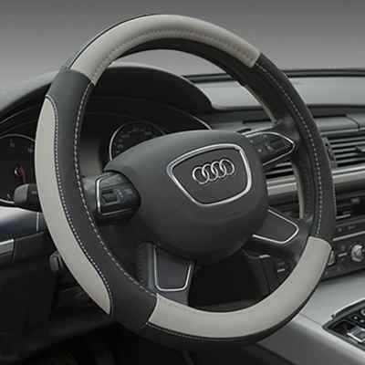 SEG Direct Black and Gray Microfiber Leather Auto Car Steering Wheel Cover