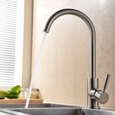 360 Degree Swivel Good Valued Modern Hot and Cold Mixer Single Handle Brushed Steel Kitchen Sink Faucet