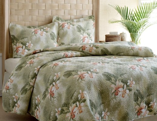 Tommy Bahama Topical Orchid Quilt Set