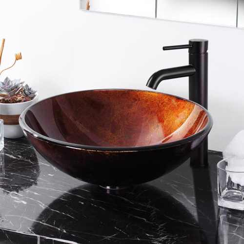 Aquaterior Modern Bathroom Round Artistic Tempered Glass Vessel Vanity Sink