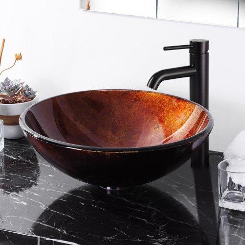 Aquaterior Modern Bathroom Round Artistic Tempered Glass Vessel Vanity Sink