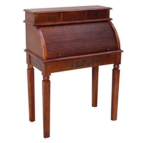 International Caravan Carved Wood Roll Top Desk