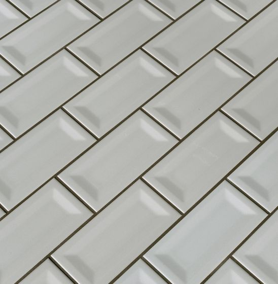 domino gray glossy 3x6 inverted beveled subway tile