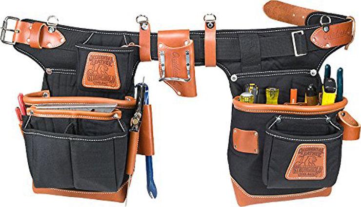 3 Piece Black Framer Construction Electrician Carpenter Tool Belt Pouch Bag Set