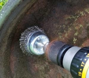 Wire cup brush drill attachment to remove rust