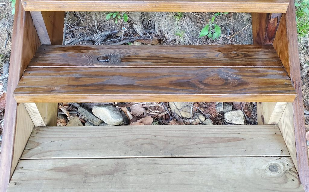 Dark Walnut stain on Pressure Treated Pine wood image