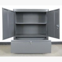 Gray Storage Cabinet with Drawer