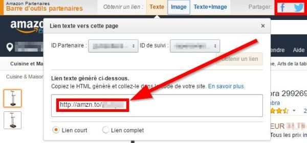 générer un lien d'affiliation amazon