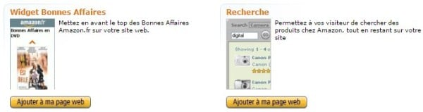 widgets pour l'affiliation Amazon