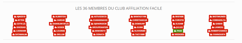 Membre club affiliation facile