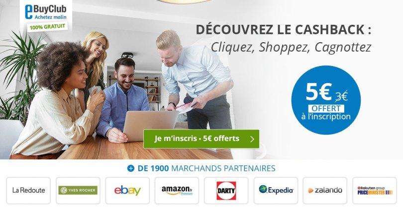 eBuyClub avis cashback code promo pour économiser