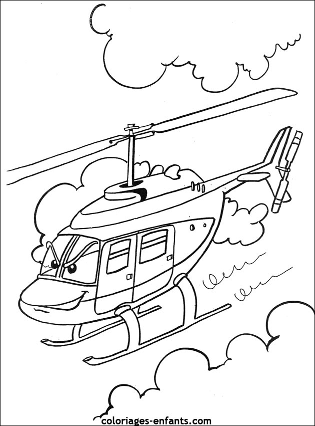 Coloriage Avion Train Helicoptere