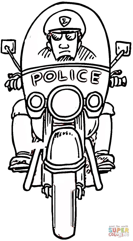 98 dessins de coloriage Moto Police à imprimer
