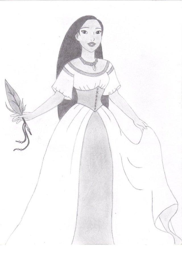 25 dessins de coloriage Pocahontas à imprimer