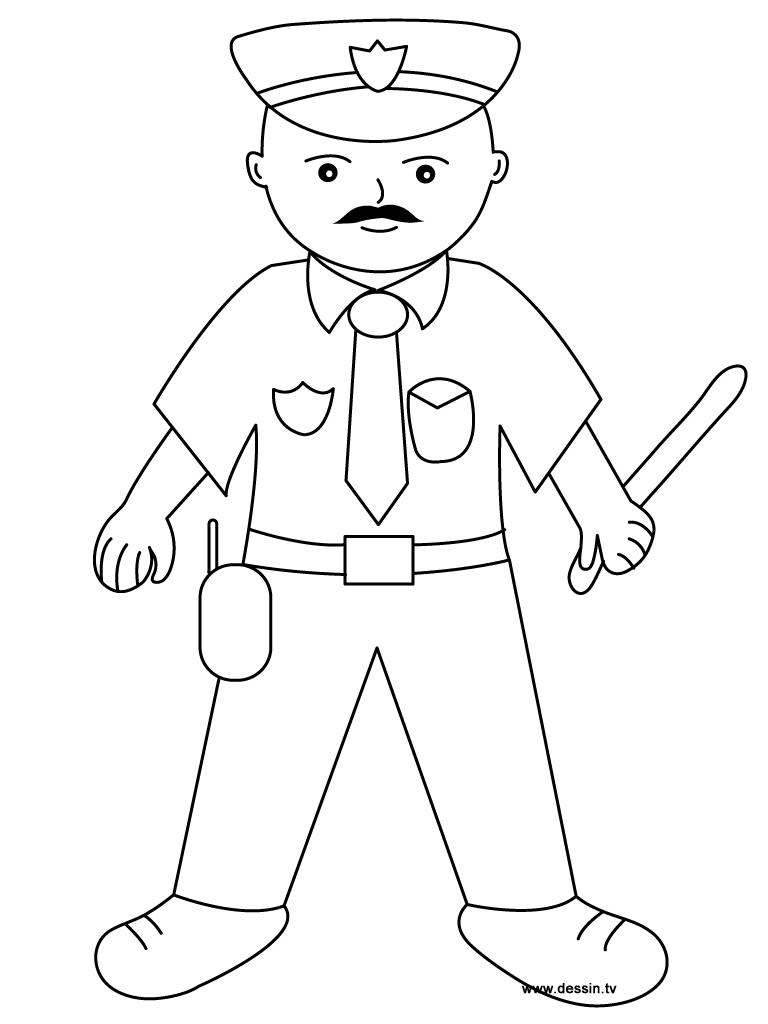 17 dessins de coloriage Policier à imprimer