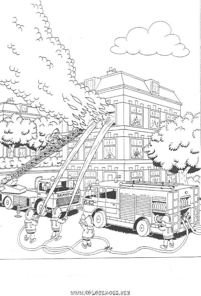 15 dessins de coloriage Pompier Adulte à imprimer