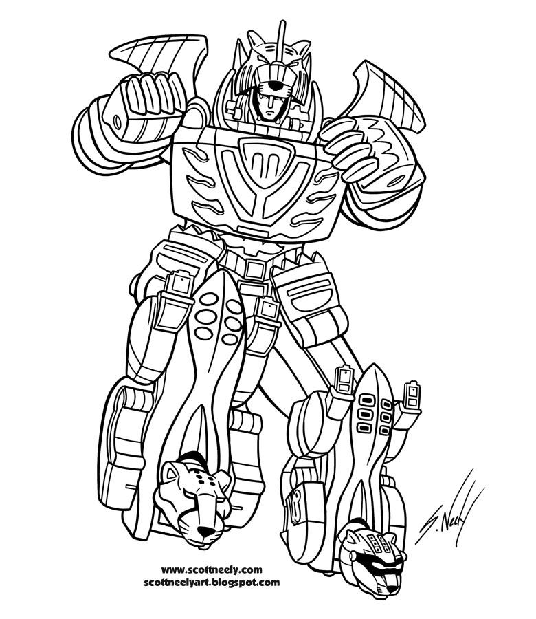 15 dessins de coloriage Power Rangers Megazord à imprimer