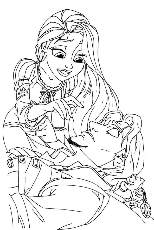 dessin à colorier raiponce et pascal en ligne