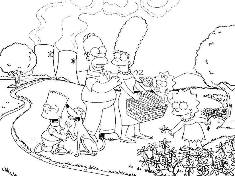 coloriage a imprimer des simpson toute la famille