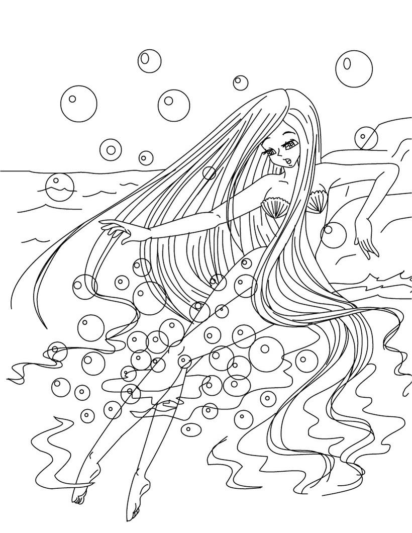 17 dessins de coloriage Sirène Barbie à imprimer
