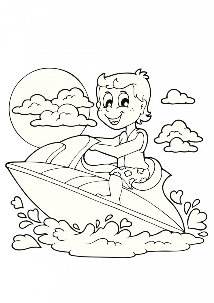 Jet Ski Coloriage Sketch Coloring Page