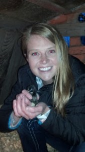 Holding a baby chick