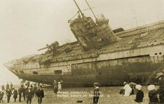 U-118, a World War One submarine washed ashore on the beach at Hastings, Sussex, England