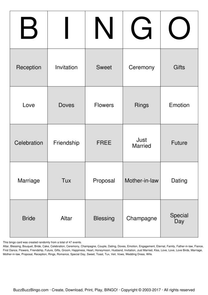 Wedding Shower Bingo Cards To Download Print And Customize!