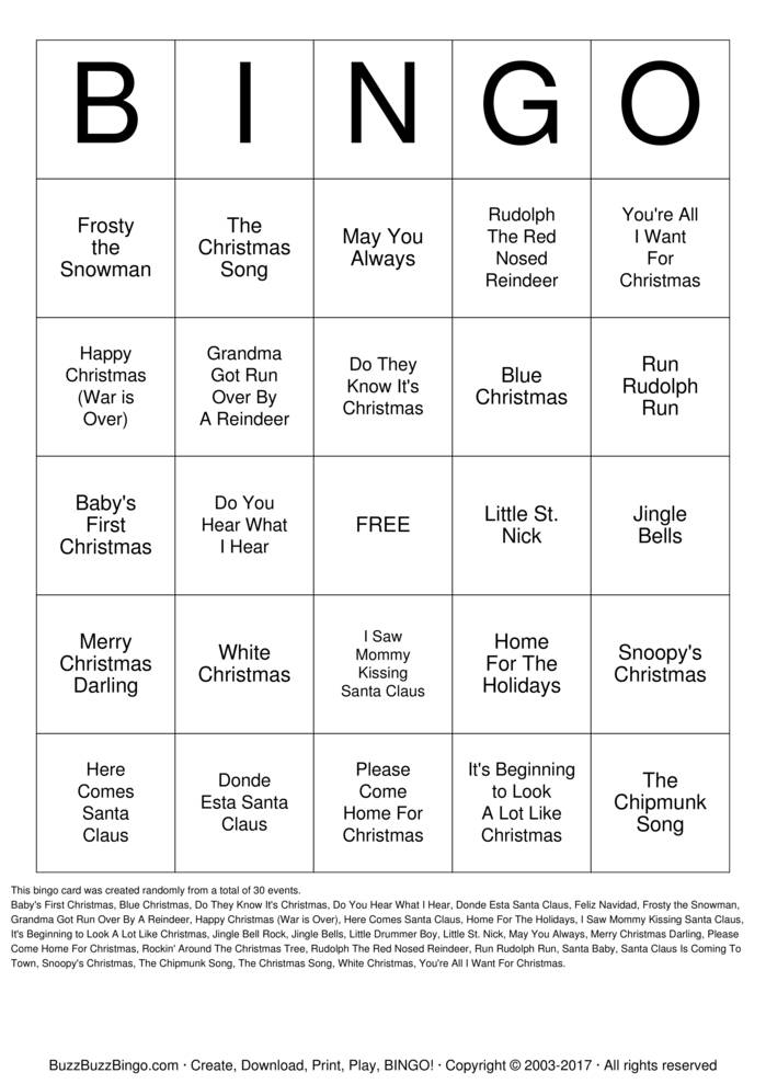 Christmas Songs Bingo Cards To Download Print And Customize