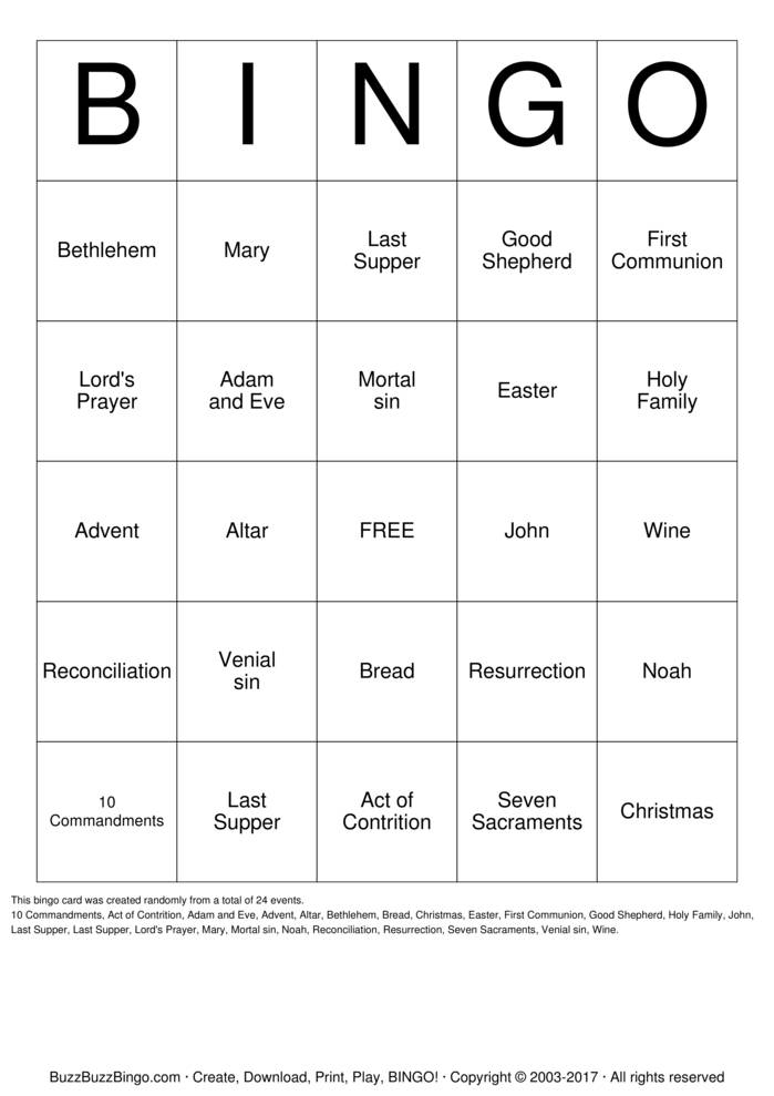Seven Sacraments Bingo Cards To Download Print And Customize