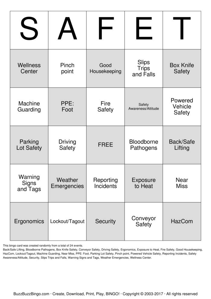 SAFET Bingo Cards to Download Print and Customize