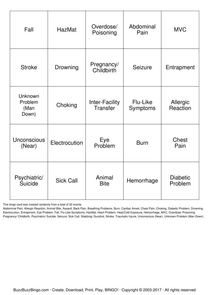 Paramedic Bingo Bingo Cards to Download Print and Customize
