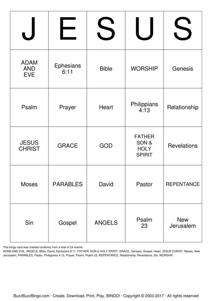 JESUS BINGO Bingo Cards To Download Print And Customize